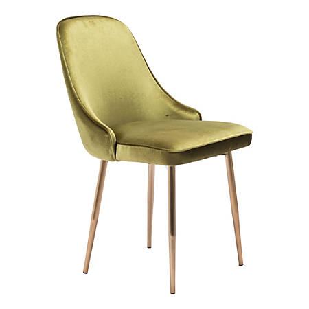 Zuo Modern Merritt Dining Chair, Green Velvet/Rose Gold