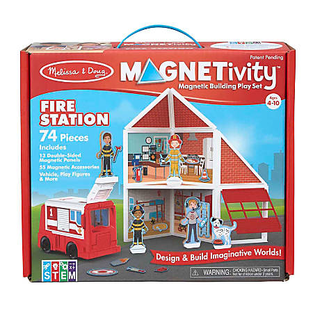 Melissa & Doug Children's Educational Toys, Magnetivity Fire Station Magnetic Building Play Set