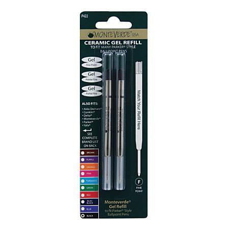 Monteverde® Parker® Style Capless Ceramic Gel Refills, Fine Point, 0.5 mm, Black, Pack Of 2 Refills