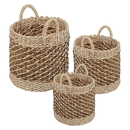 Honey Can Do Coastal Collection Nesting Storage Bins With Handles, Beech Brown, Set Of 3