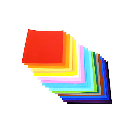 "Yasutomo Fold'ems Origami Paper, 9 3/4"", Assorted Bright Colors, Pack Of 100"