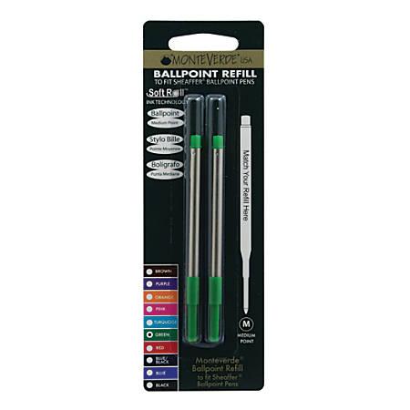 Monteverde® Ballpoint Refills For Sheaffer Ballpoint Pens, Medium Point, 0.7 mm, Green, Pack Of 2 Refills