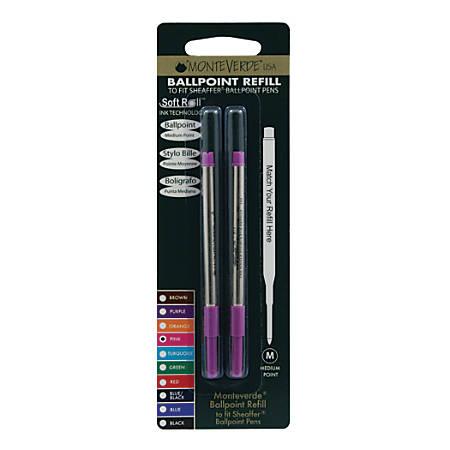 Monteverde® Ballpoint Refills For Sheaffer Ballpoint Pens, Medium Point, 0.7 mm, Pink, Pack Of 2 Refills