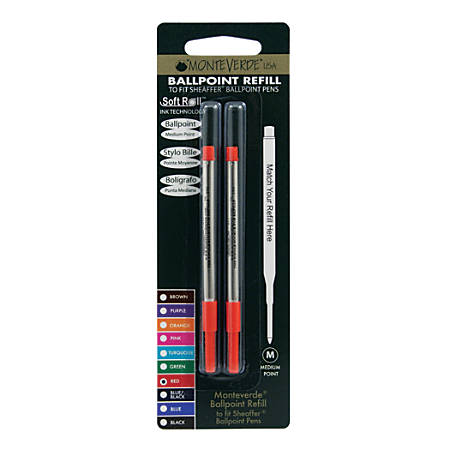 Monteverde® Ballpoint Refills For Sheaffer Ballpoint Pens, Medium Point, 0.7 mm, Red, Pack Of 2 Refills