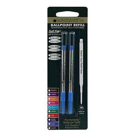 Monteverde® Ballpoint Refills For Sheaffer Ballpoint Pens, Medium Point, 0.7 mm, Turquoise, Pack Of 2 Refills