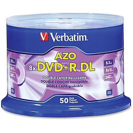 Verbatim® DVD+R DL Branded Surface Spindle, 8.5GB, Pack Of 50