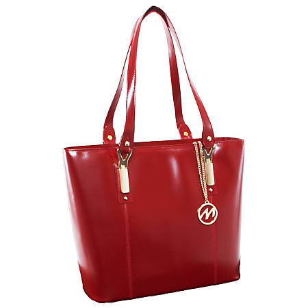 "McKleinUSA® M Series SAVARNA Leather Shoulder Tote, 14 1/2""H x 5""W x 13""D, Red"