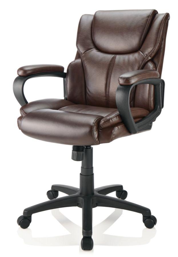 Super Brenton Studio Mayhart Vinyl Mid Back Chair Brown Black Alphanode Cool Chair Designs And Ideas Alphanodeonline
