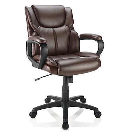 Brenton Studio® Mayhart Vinyl Mid-Back Managerial Chair, Brown