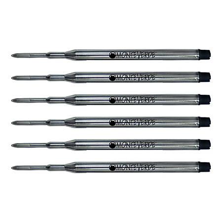 Monteverde® Ballpoint Refills For Sheaffer Ballpoint Pens, Medium Point, 0.7 mm, Black, Pack Of 6 Refills