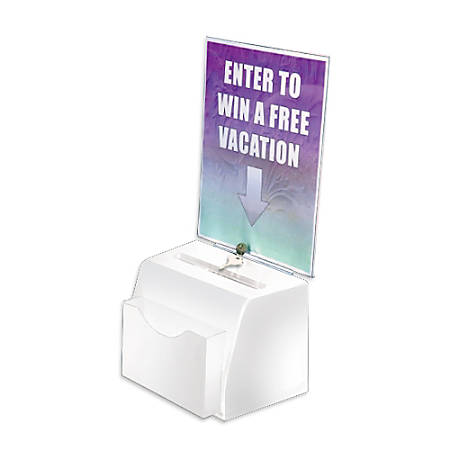 "Azar Displays Plastic Suggestion Box, With Lock, Molded, Small, 3 1/2""H x 5 1/2""W x 5""D, White"