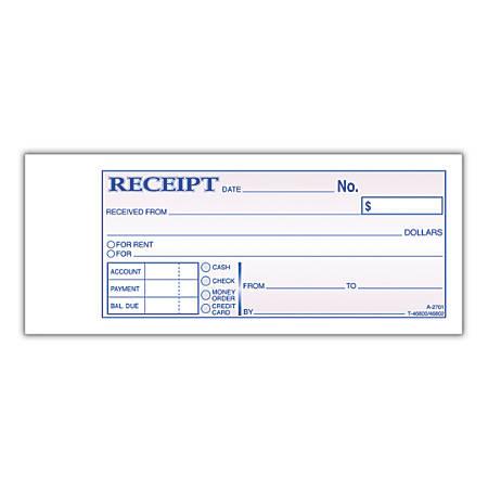 "Adams® Money/Rent Receipt Books, 7 3/16"" x 2 3/4"", 3-Part, Carbonless, 50 Set Book"