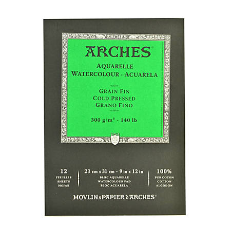 "Arches® Watercolor Pads, 9"" x 12"", Cold-Pressed, 140 Lb, White, Pack Of 2"