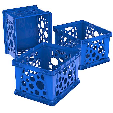 "Storex Mini Crates, 9"" x 7-3/4"" x 6"", Blue, Pack Of 3 Crates"