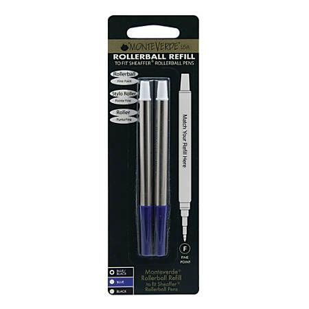 Monteverde® Rollerball Refills For Sheaffer Rollerball Pens, Fine Point, 0.5 mm, Blue/Black, Pack Of 2 Refills