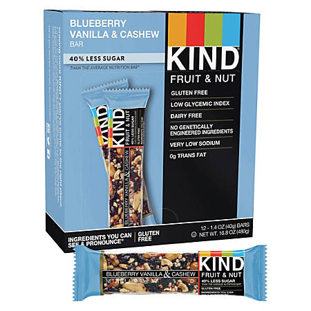 KIND Blueberry Vanilla And Cashew Fruit And Nut Bars, 1.4 Oz, Pack Of 12