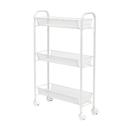 """Honey Can Do Slim Rolling Wire Cart, With 3 Baskets, 30-3/4""""H x 7-1/4""""W x 19""""D, White"""