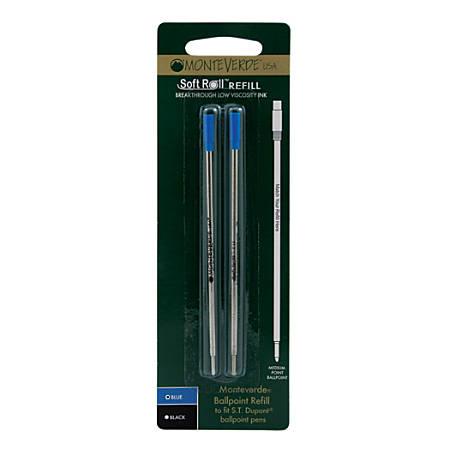 Monteverde® Ballpoint Refills For St. Dupont® Ballpoint Pens, Medium Point, 0.7 mm, Blue, Pack Of 2 Refills