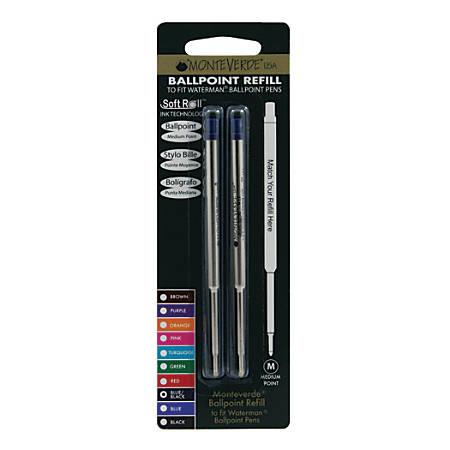Monteverde® Ballpoint Refills For Waterman Ballpoint Pens, Medium Point, 0.7 mm, Blue/Black, Pack Of 2 Refills