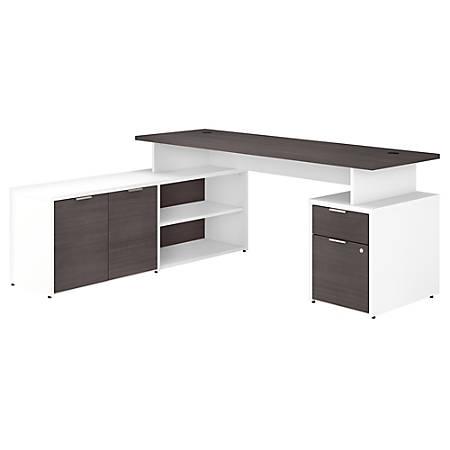 "Bush Business Furniture Jamestown L-Shaped Desk With Drawers, 72""W, Storm Gray/White, Premium Installation"