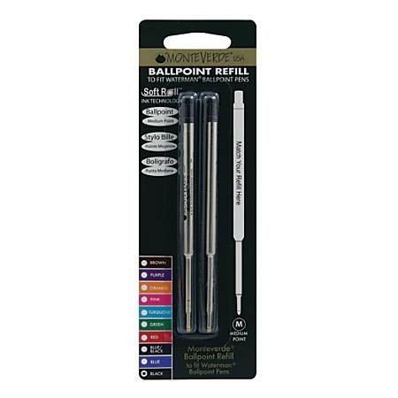 Monteverde® Ballpoint Refills For Waterman Ballpoint Pens, Medium Point, 0.7 mm, Black, Pack Of 2 Refills