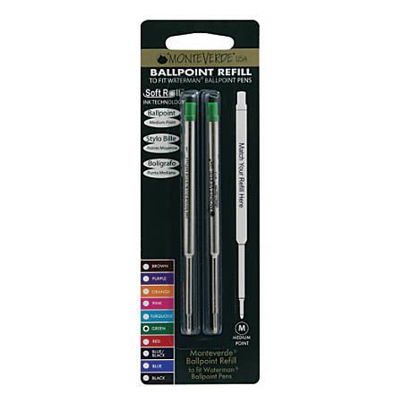 Monteverde® Ballpoint Refills For Waterman Ballpoint Pens, Medium Point, 0.7 mm, Green, Pack Of 2 Refills