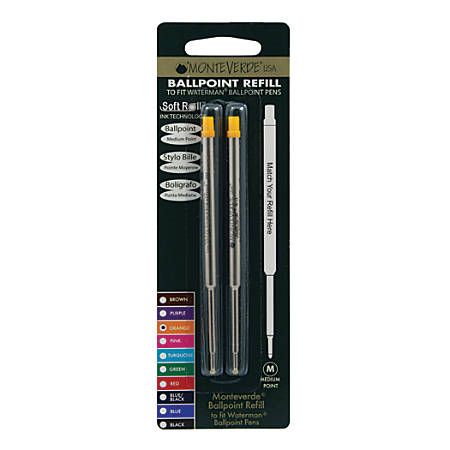 Monteverde® Ballpoint Refills For Waterman Ballpoint Pens, Medium Point, 0.7 mm, Orange, Pack Of 2 Refills