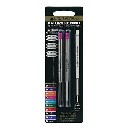 Monteverde® Ballpoint Refills For Waterman Ballpoint Pens, Medium Point, 0.7 mm, Pink, Pack Of 2 Refills
