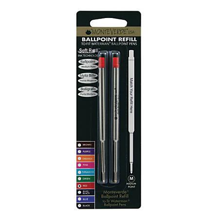 Monteverde® Ballpoint Refills For Waterman Ballpoint Pens, Medium Point, 0.7 mm, Red, Pack Of 2 Refills