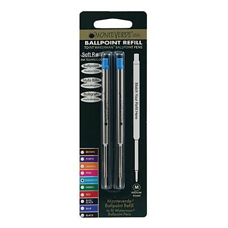 Monteverde® Ballpoint Refills For Waterman Ballpoint Pens, Medium Point, 0.7 mm, Turquoise, Pack Of 2 Refills