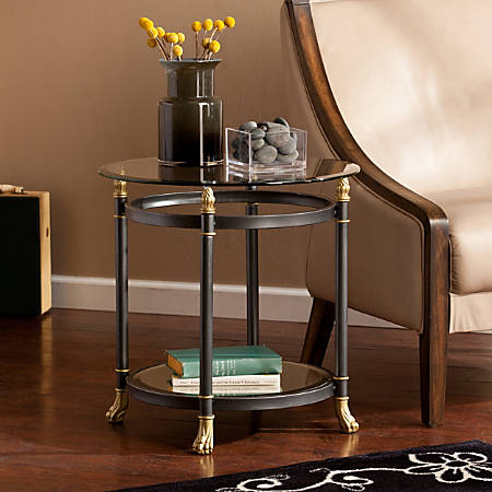 Southern Enterprises Allesandro End Table, Round, Clear/Dark Gray/Gold