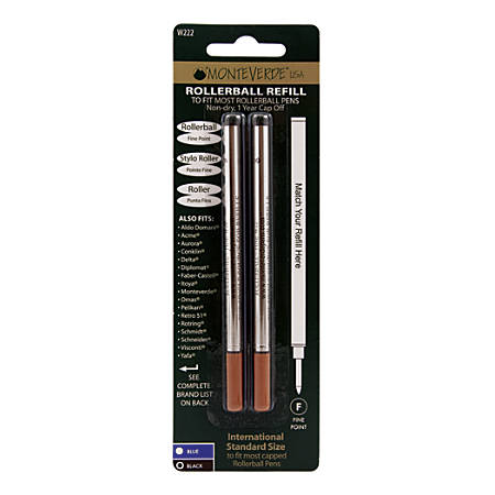 Monteverde® Rollerball Refills For Waterman Rollerball Pens, Fine Point, 0.5 mm, Black, Pack Of 2 Refills
