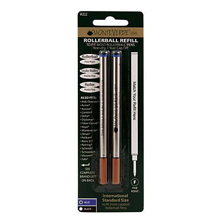 Monteverde® Rollerball Refills For Waterman Rollerball Pens, Fine Point, 0.5 mm, Blue, Pack Of 2 Refills