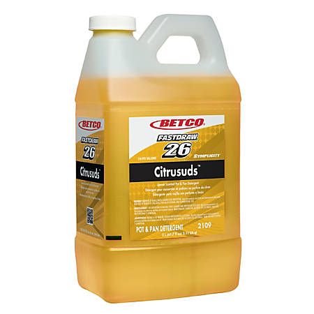 Betco® Symplicity™ Citrusuds™ Concentrated Pot & Pan Detergent, Citrus Floral Scent, 2 Liter, Case Of 4