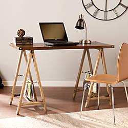 Southern Enterprises Downing Wood Sawhorse Desk