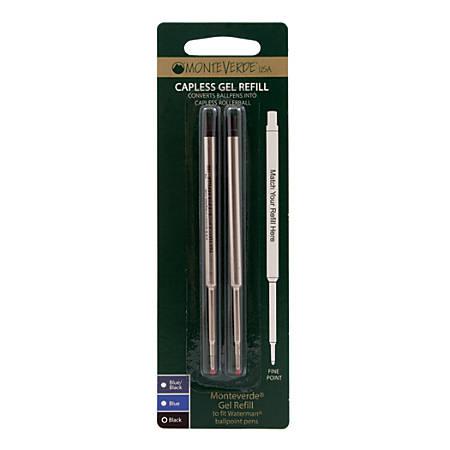 Monteverde® Capless Gel Refills For Waterman Ballpoint Pens, Fine Point, 0.5 mm, Black, Pack Of 2 Refills