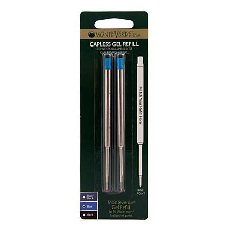 Monteverde® Capless Gel Refills For Waterman Ballpoint Pens, Fine Point, 0.5 mm, Blue, Pack Of 2 Refills