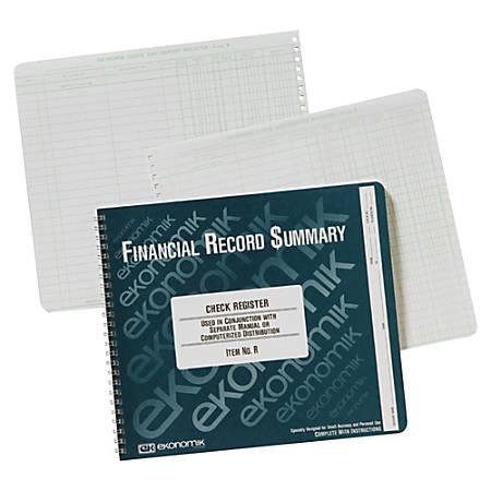 "Ekonomik Check Registry, 1-Part, 8 3/4"" x 10"", 100% Recycled, White, 40 Sheets"