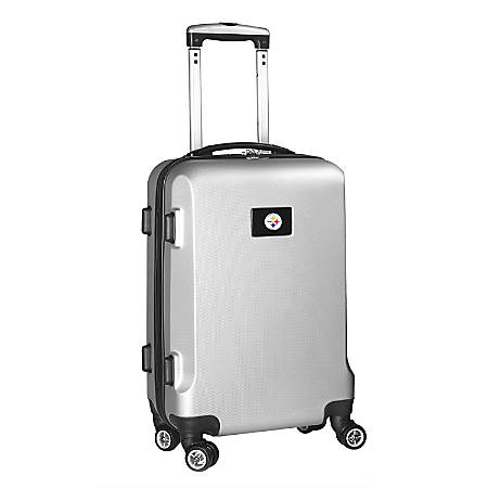 """Denco 2-In-1 Hard Case Rolling Carry-On Luggage, 21""""H x 13""""W x 9""""D, Pittsburgh Steelers, Silver"""