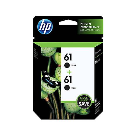 HP 61 Black Original Ink Cartridges (CZ073FN), 2-Pack