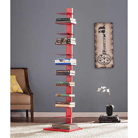 "Southern Enterprises Spine Tower Shelf, 65 1/4""H x 15 3/4""W x 16""D, Valiant Poppy"