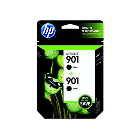 HP 901, Black Original Ink Cartridges (CZ075FN), Pack Of 2