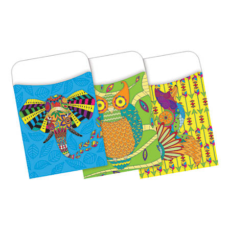Barker Creek Peel & Stick Library Pockets, Bohemian Animals, Pack Of 30