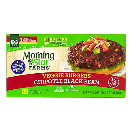 Morningstar Farms Chipotle Black Bean Veggie Burgers, Box Of 12