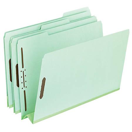 "Pendaflex® Extra-Sturdy Pressboard Fastener Folders, 3"" Expansion, 8 1/2"" x 14"", Legal Size, Light Green, Pack Of 25"