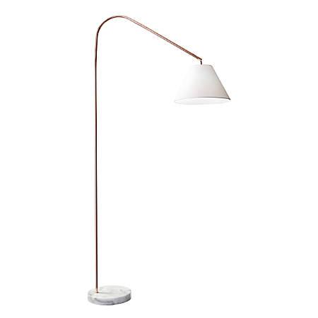 """Adesso® Willa Arc Lamp, 82""""H, White Shade/Copper Base"""