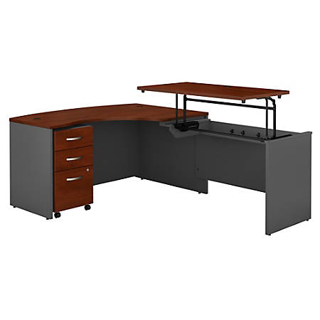 """Bush Business Furniture Components 60""""W Right Hand 3 Position Sit to Stand L Shaped Desk with Mobile File Cabinet, Hansen Cherry/Graphite Gray, Standard Delivery"""