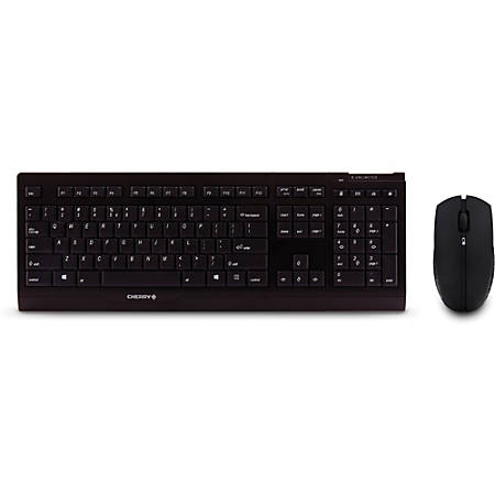 CHERRY B. Unlimited 3.0 Keyboard & Mouse Set - USB Wireless RF Keyboard - 104 Key - English (US) - Black - USB Wireless RF Mouse - Infrared - 2000 dpi - 3 Button - Scroll Wheel - QWERTY - Black - Symmetrical - AA, AAA