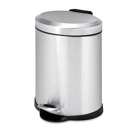 Honey-Can-Do Steel Step Trash Can, Oval, 1.3 Gallons, Stainless Steel