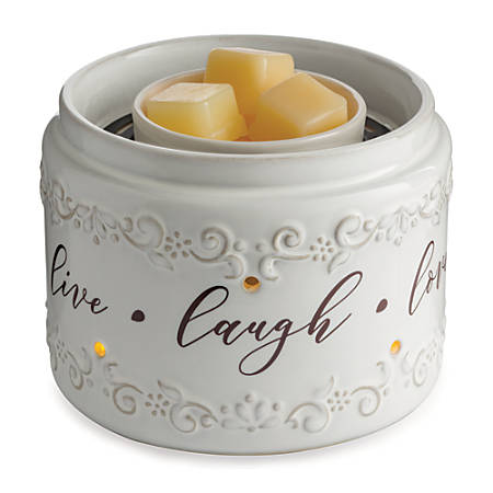 """Candle Warmers Etc Fan Fragrance Warmer, 8-5/8"""" x 7-1/8"""", Live Laugh Love"""